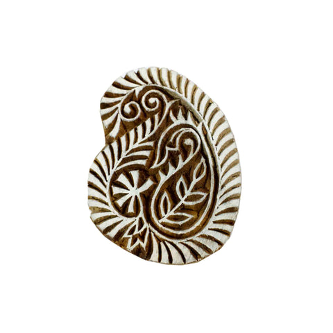 Paisley wooden stamp for textile and paper printing