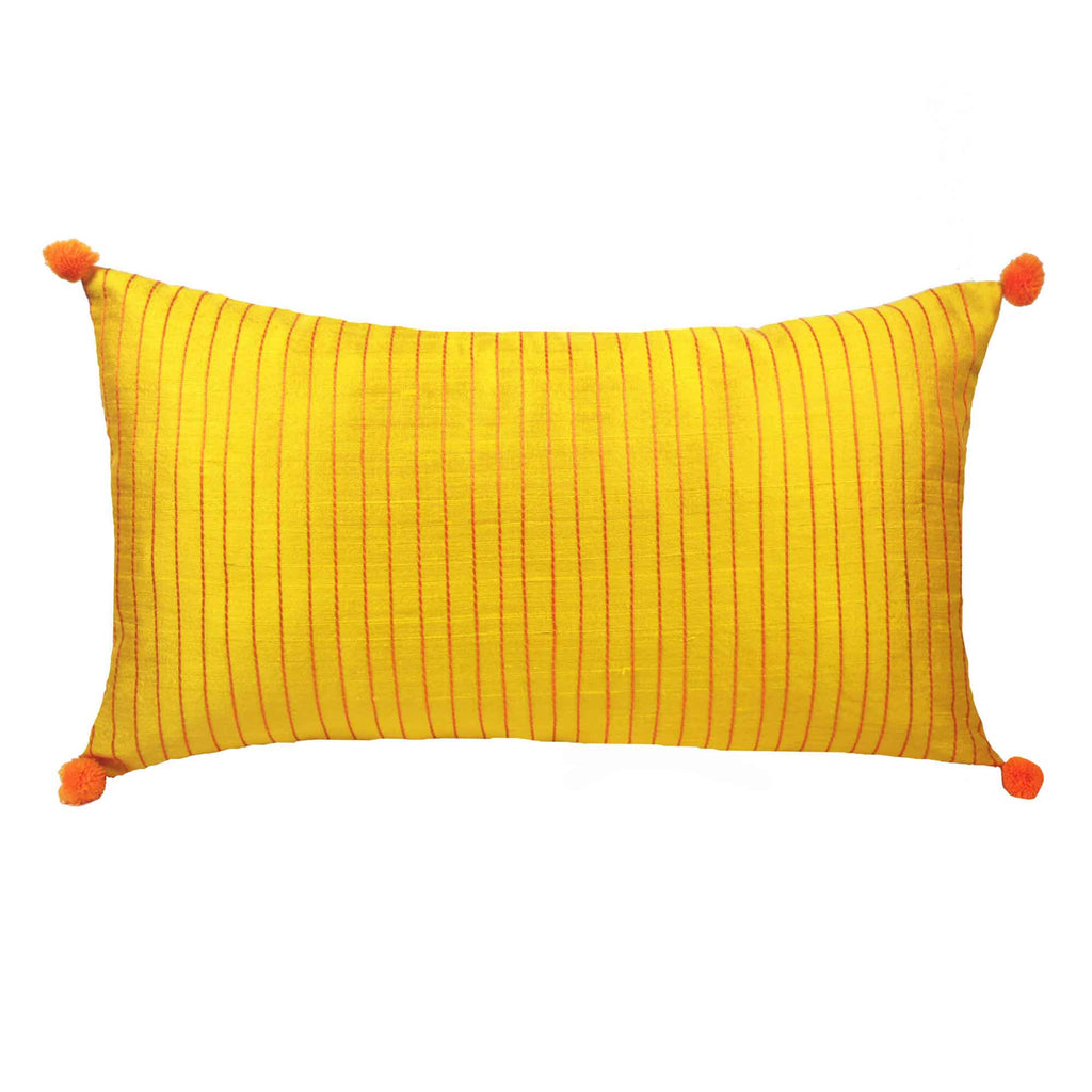 Yellow Orange Kantha Embroidery Pillow Buy from DesiCrafts