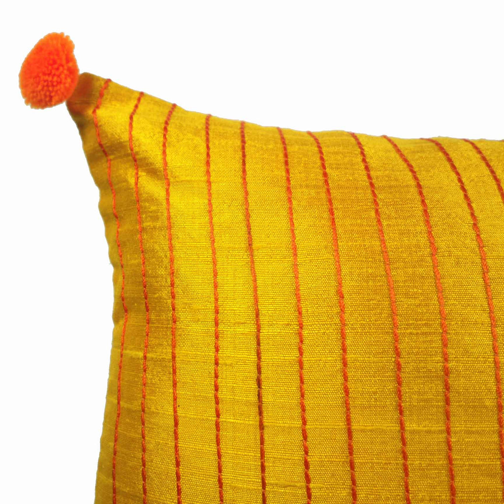 Yellow and Orange Kantha Embroidery Pillow Cover