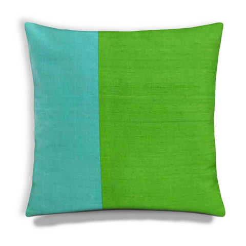 Mint and Aqua Colorblock Raw Silk Pillow Cover buy online from India