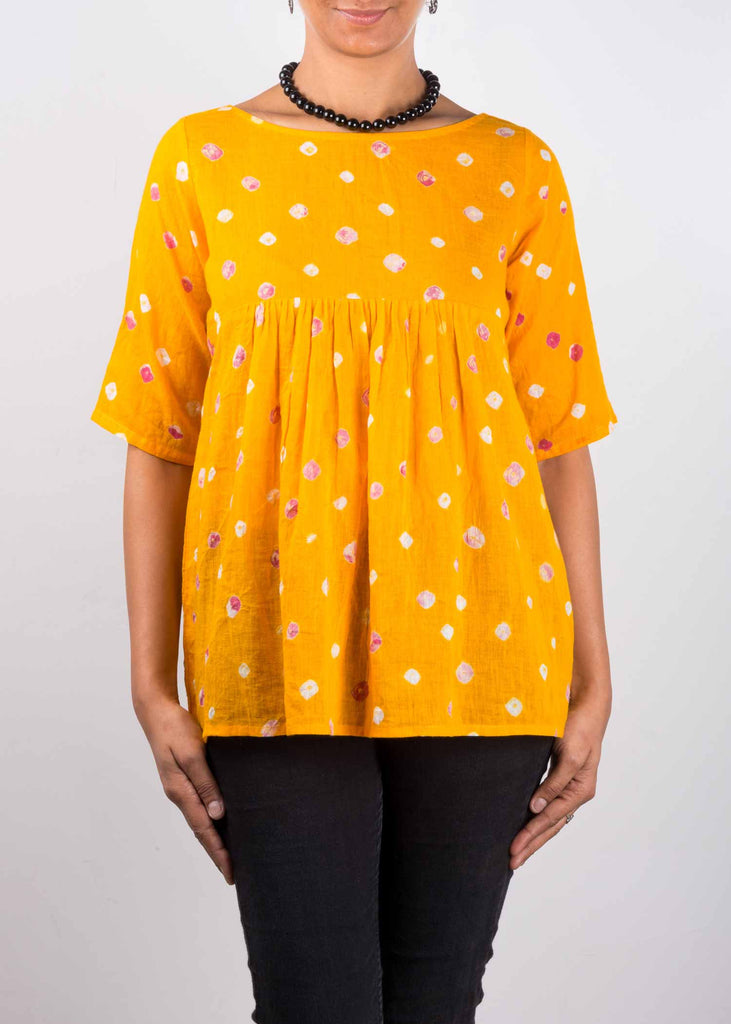 Yellow Bandhani Soft Cotton Top Buy Online