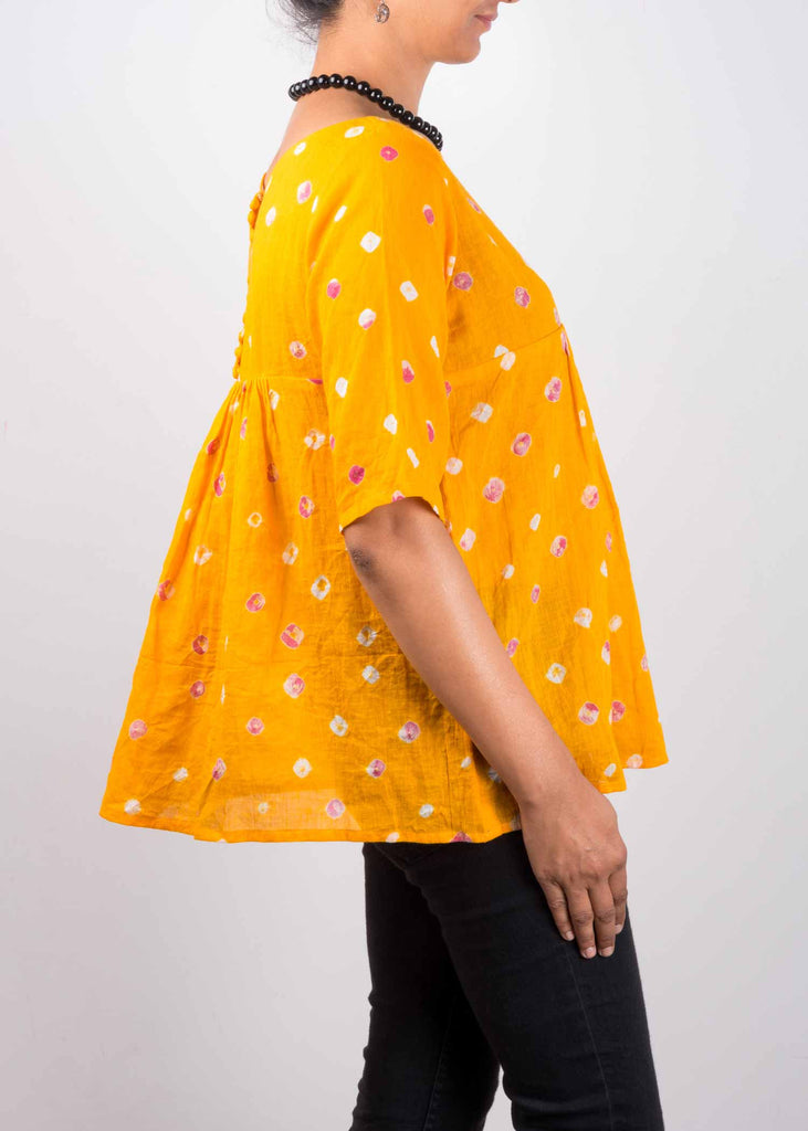 Yellow Bandhani Cotton Top By DesiCrafts