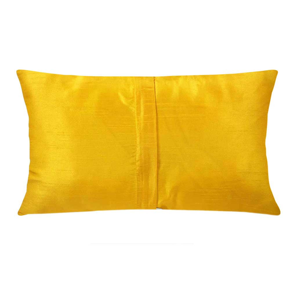 Sunny Yellow and Orange Kantha Embroidery Pillow