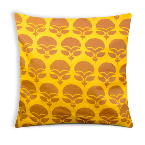 Yellow and Brown Cotton Cushion Cover