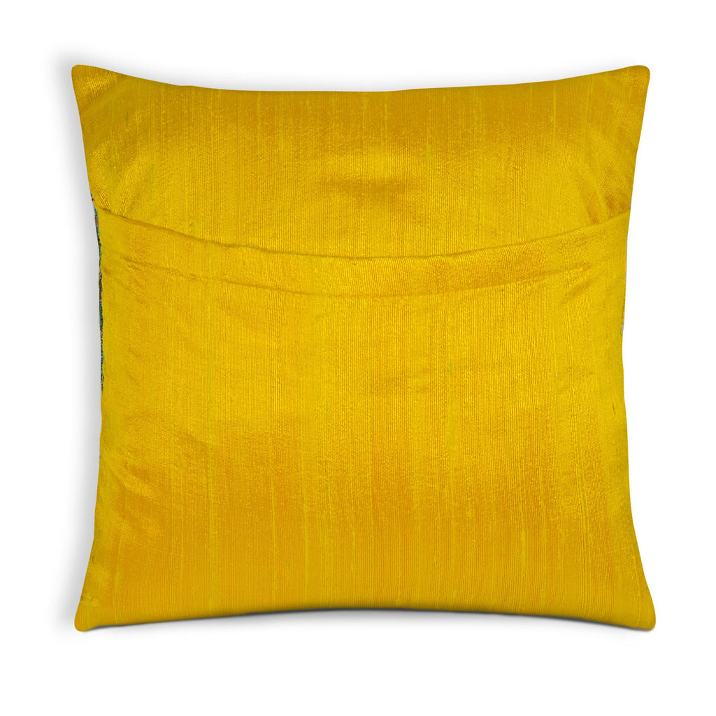Envelope style kashmir embroidery raw silk cushion cover