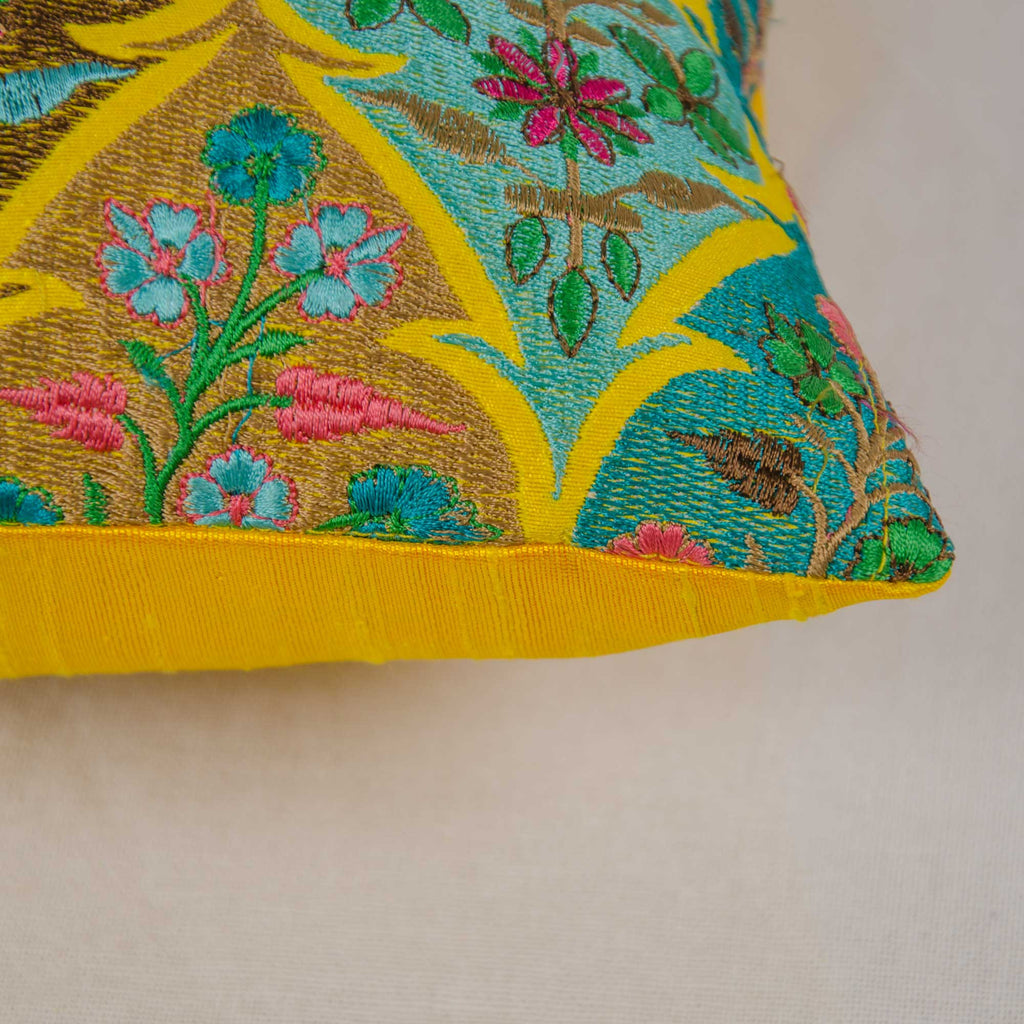 handmade kashmir embroidery yellow pillow cover