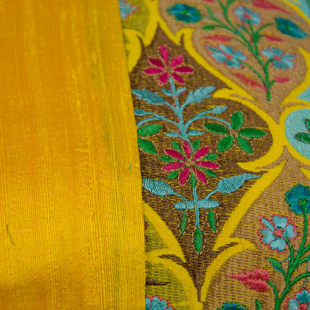 kashmir embroidery cushion cover in Yellow