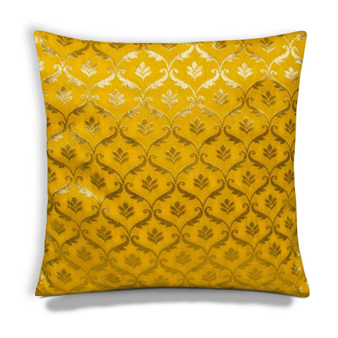 Sunny Yellow and Gold Damask Silk Square Pillow Cover