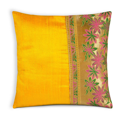Yellow Hot Pink Raw Silk Pillow Cover