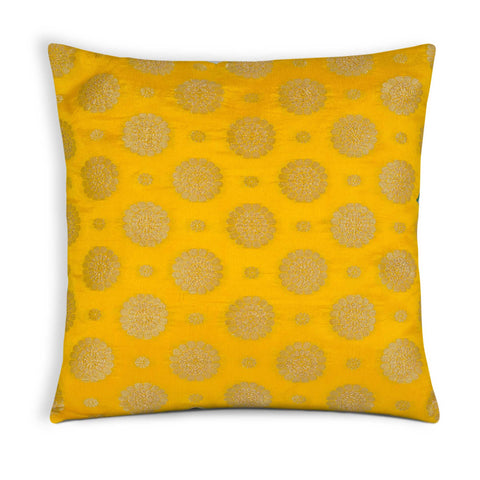 Yellow and Gold silk pillow cover