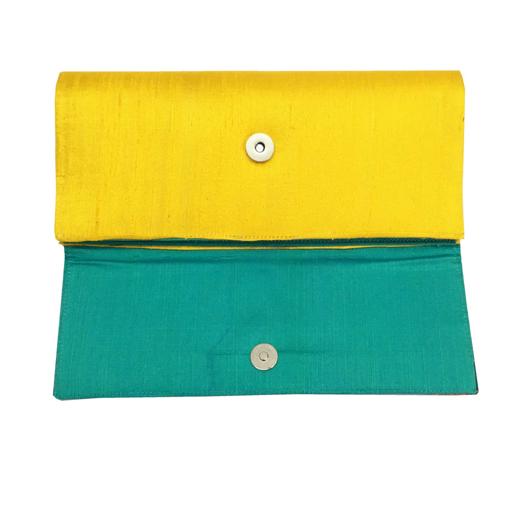 Embroidered Raw Silk Clutch Purse Sea Green and Yellow