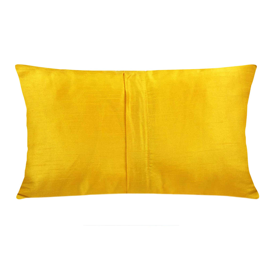 Yellow and green raw silk pillow cover buy online from India