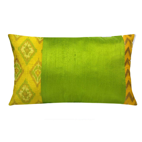 Yellow and green raw silk pillow cover buy online from DesiCrafts