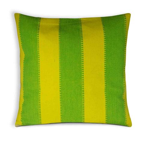 Spring green and yellow plaid cotton cushion cover buy online from DesiCrafts