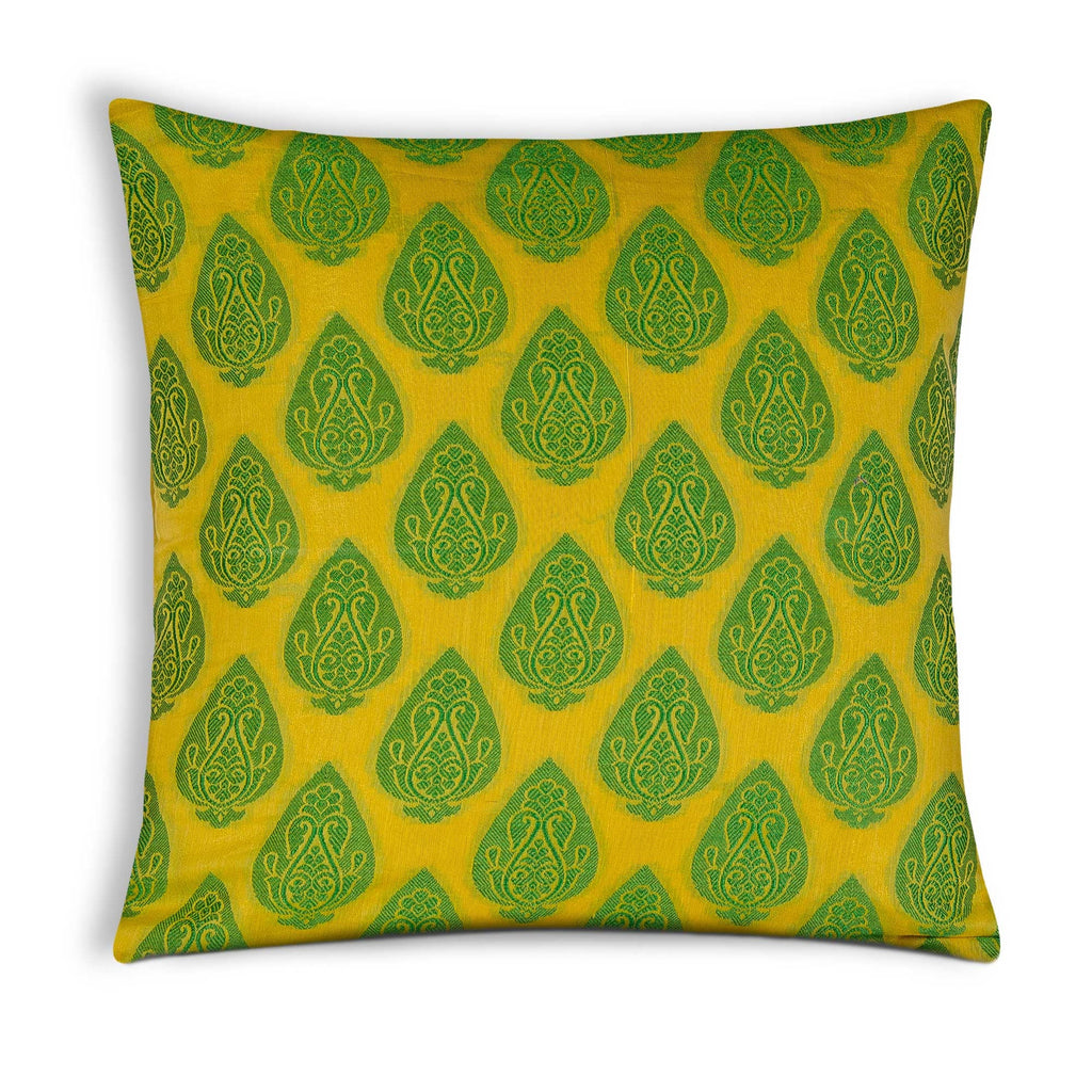 Yellow Green Gold Chanderi Silk Pillow Cover