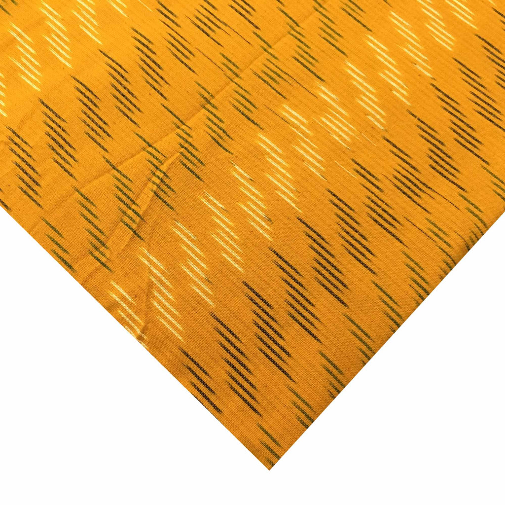 Turmeric Yellow Handloom Cotton Ikat Fabric