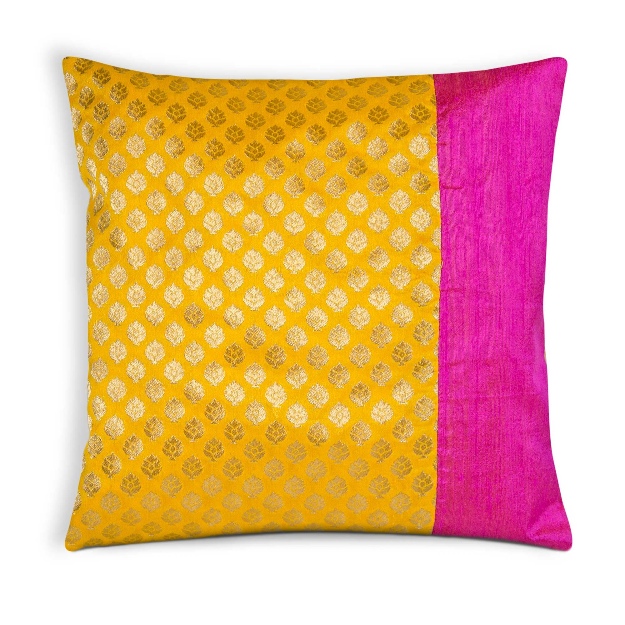 Hot Pink and Sunny Yellow Brocade Silk Pillow Cover – DesiCrafts