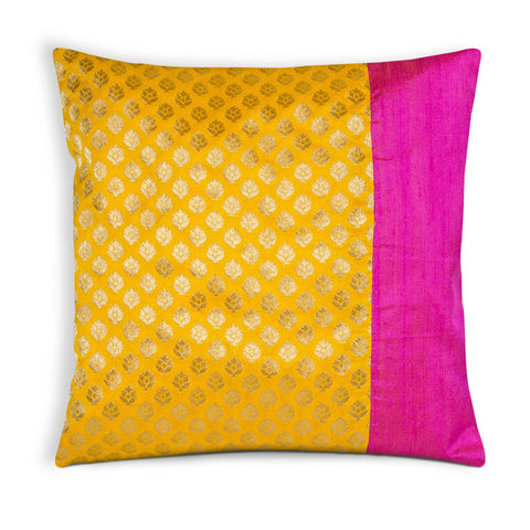 Hot pink and sunny yellow pillow cover