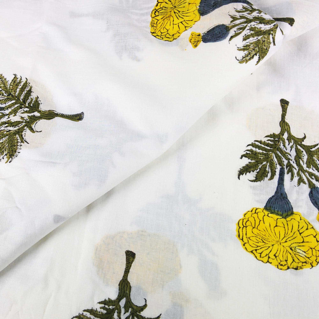 Yellow and White Marigold Soft Cambric Cotton Fabric Buy By Yard