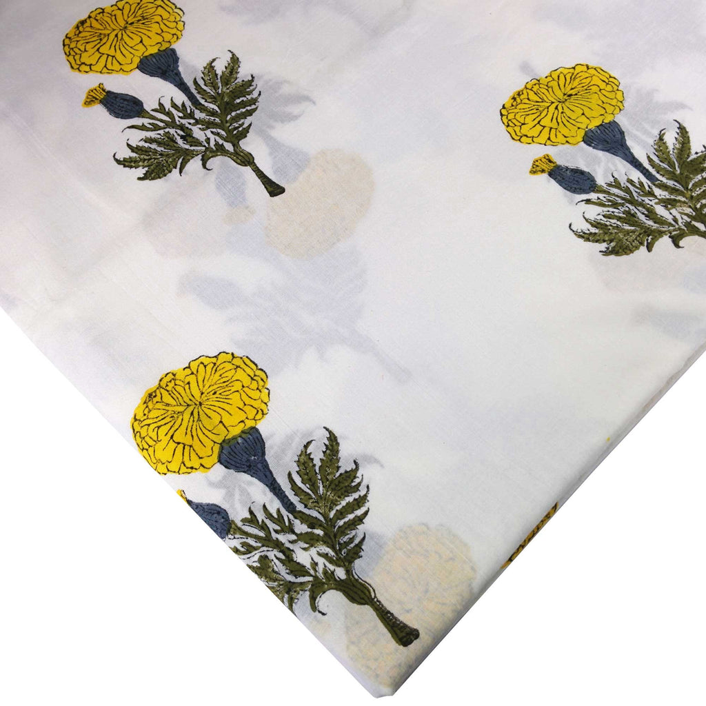 DesiCrafts Yellow and White Marigold Soft Cambric Cotton Fabric