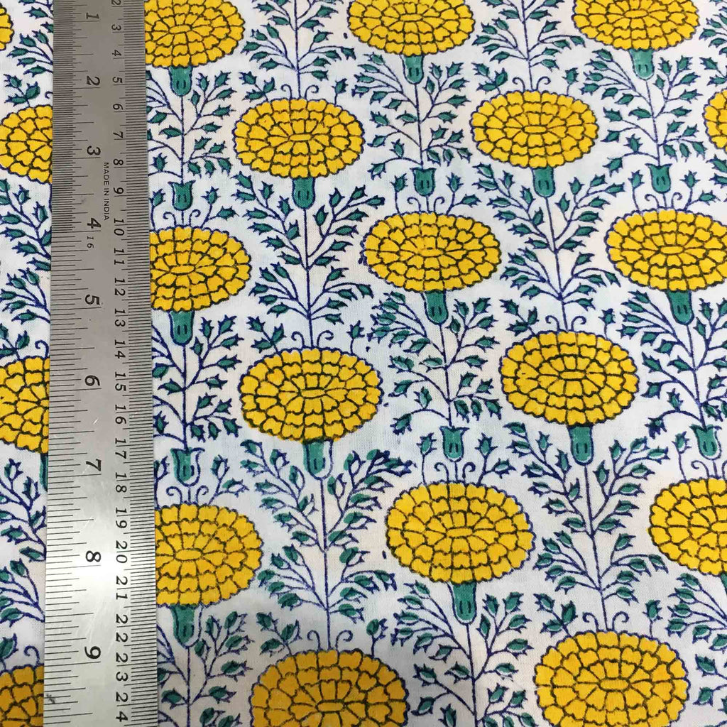 Marigold Print Cotton Fabric By DesiCrafts