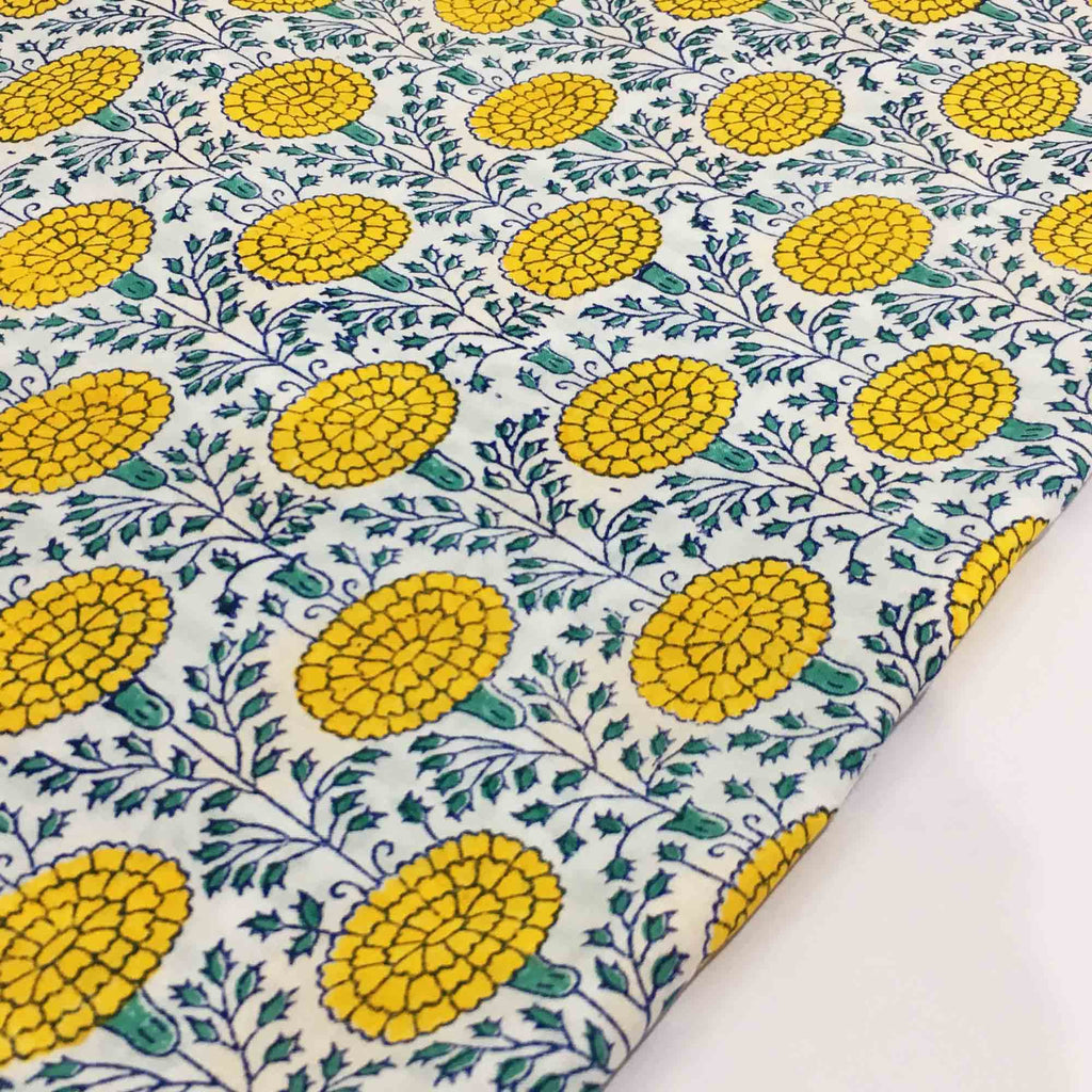 Hand Block Print Fabric in Green and Yellow