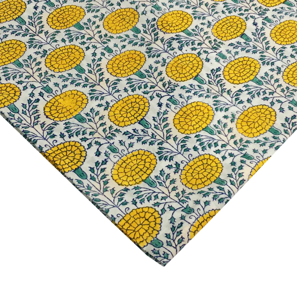 Yellow and Green Marigold Print Fabric