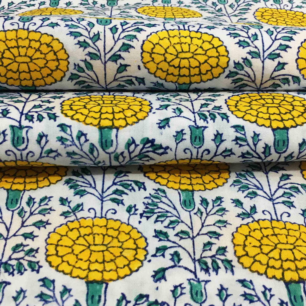Green and Yellow Floral Print Fabric