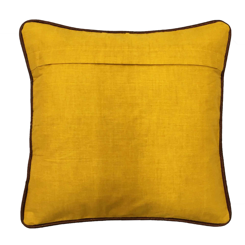 Yellow and Maroon Handloom Cotton Pillow Cover