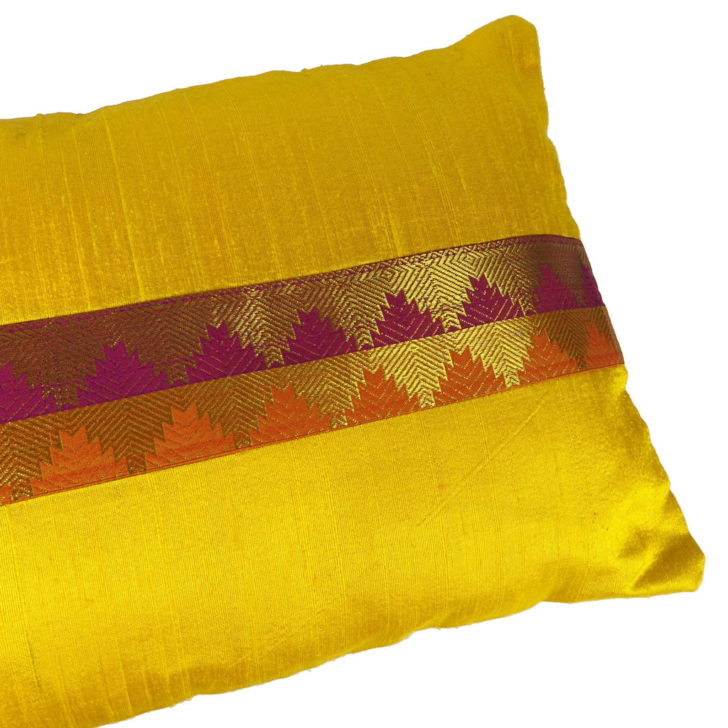 Yellow and Maroon Border Raw Silk Lumber Pillow Cover Buy Online From India