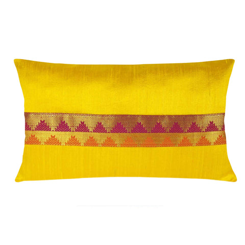 Yellow and Maroon Border Raw Silk Lumber Pillow Cover Buy Online From DesiCrafts