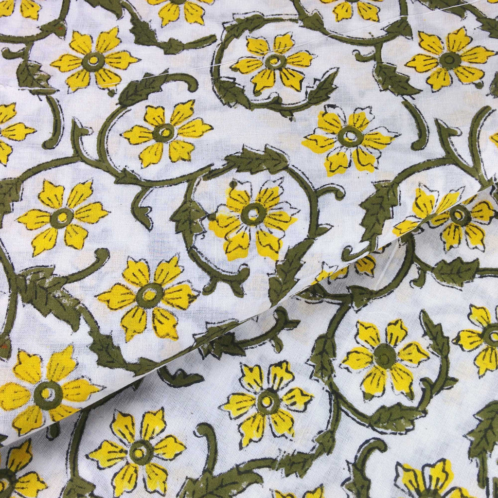 Yellow and Olive Floral Soft Cambric Cotton Fabric Handmade in India