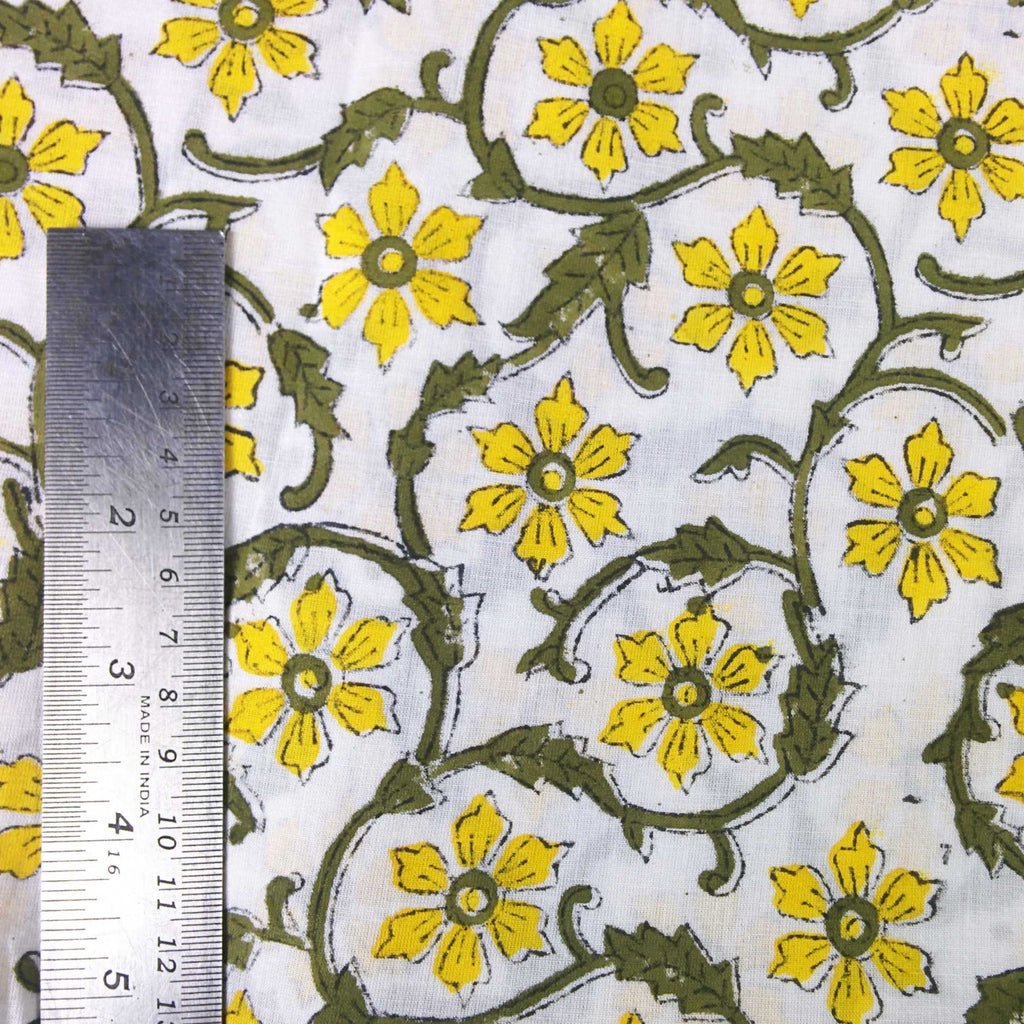 DesiCrafts Yellow and Olive Floral Soft Cambric Cotton Fabric