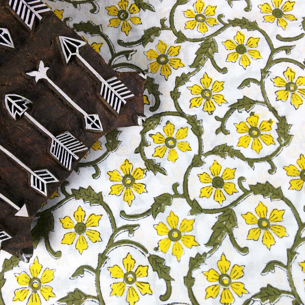 Yellow and Olive Floral Soft Cambric Cotton Fabric Buy from DesiCrafts