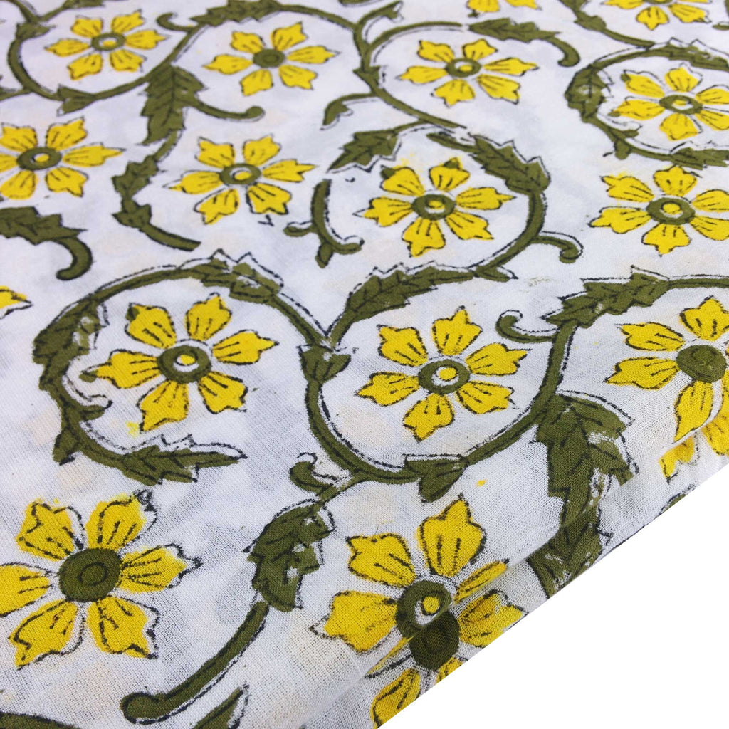 Yellow and Olive Floral Soft Cambric Cotton Fabric Buy online from India
