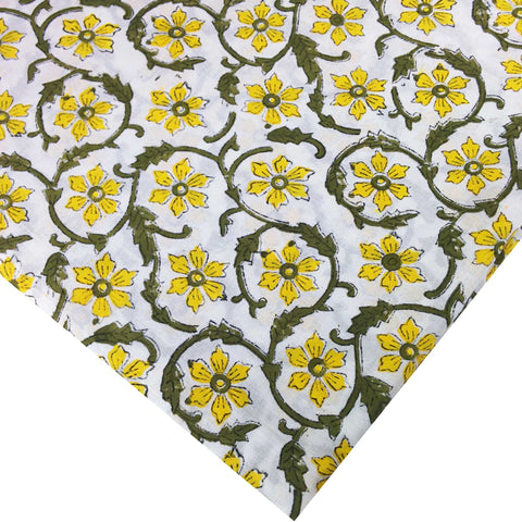 Yellow and Olive Floral Soft Cambric Cotton Fabric