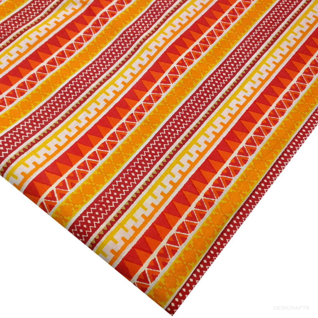 Yellow and Orange Aztec Cotton Fabric