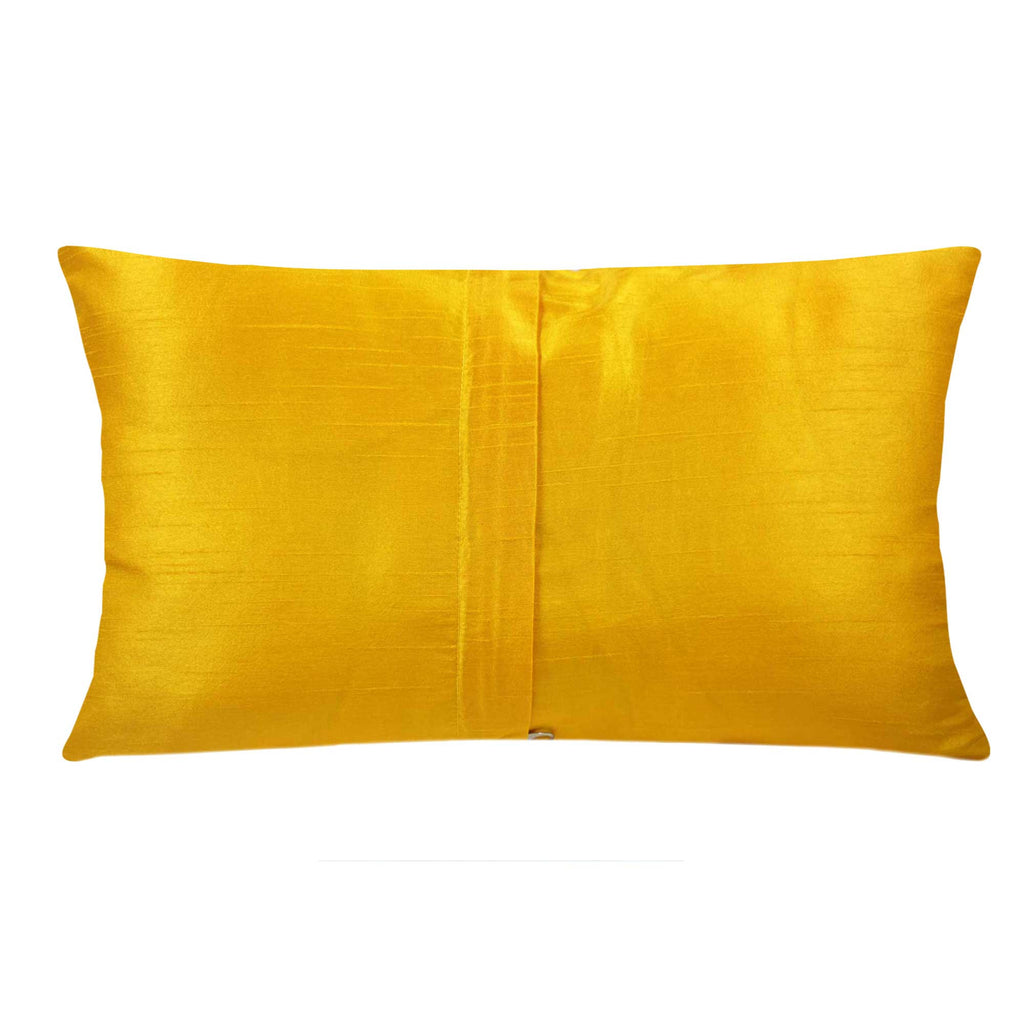Orange Yellow Gold Banrasi Silk Pillow Cover Buy Online from India