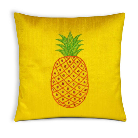Yellow Pineapple Embroidery Pure Silk Pillow Cover