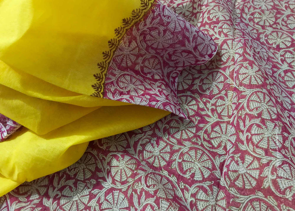 Yellow Fuchsia Floral BlockPrint Supernet Sari With Blouse