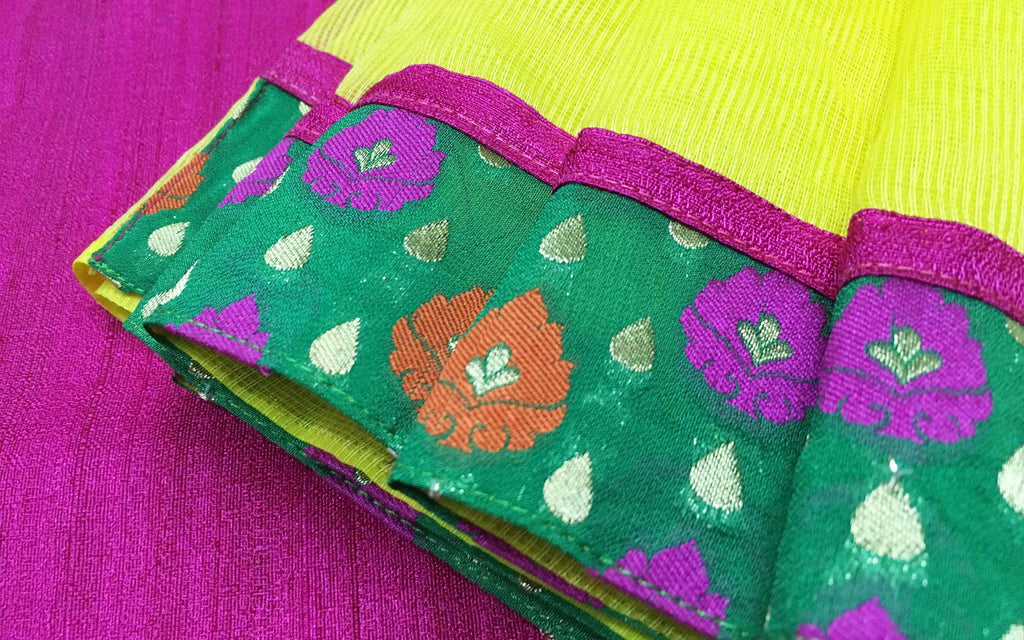 Office wear Yellow Pink and Gold Banarasi Border Kota Sari