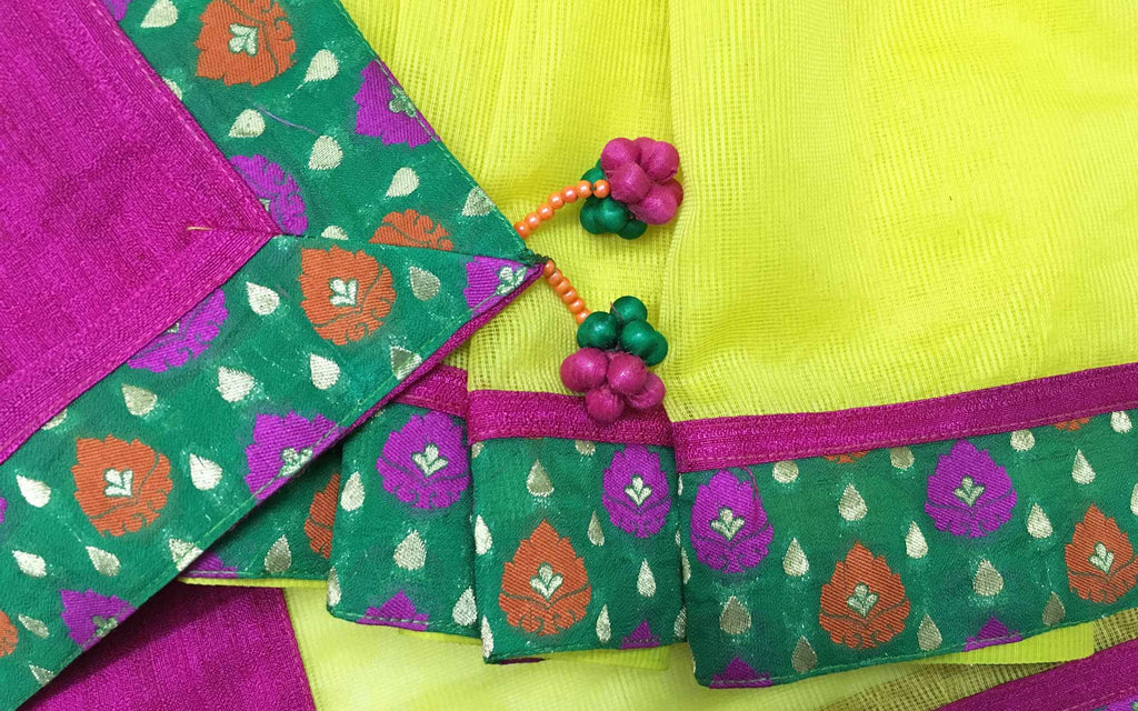 Handmade Tassels Sari in Yellow Pink and Gold