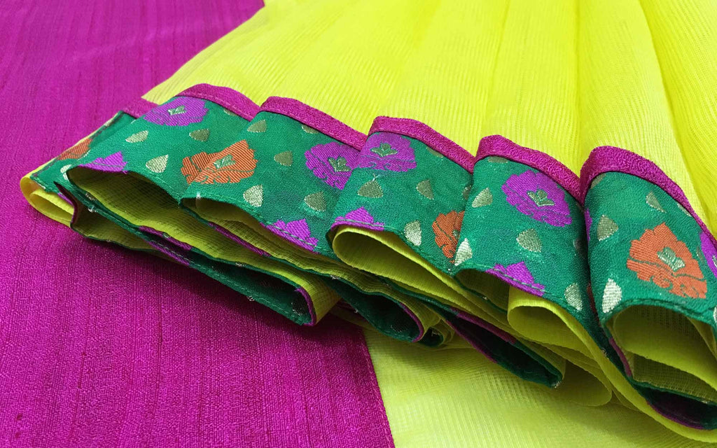 Half and Half Yellow Pink and Gold Banarasi Border Kota Sari