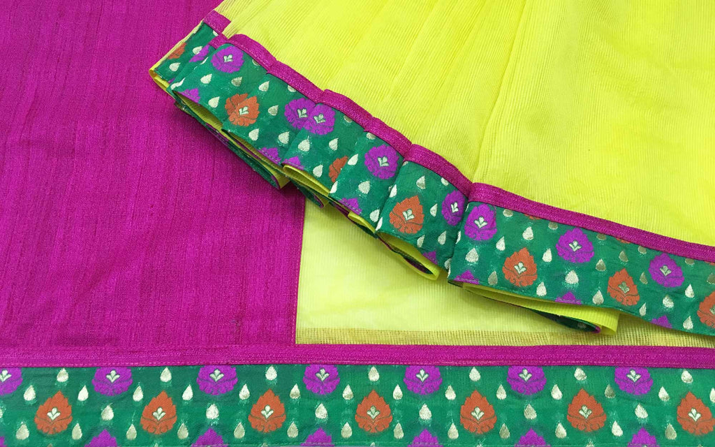 DesiCrafts Yellow Pink and Gold Banarasi Border Kota Sari