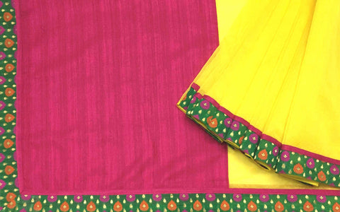 Yellow Pink and Gold Banarasi Border Kota Sari by DesiCrafts