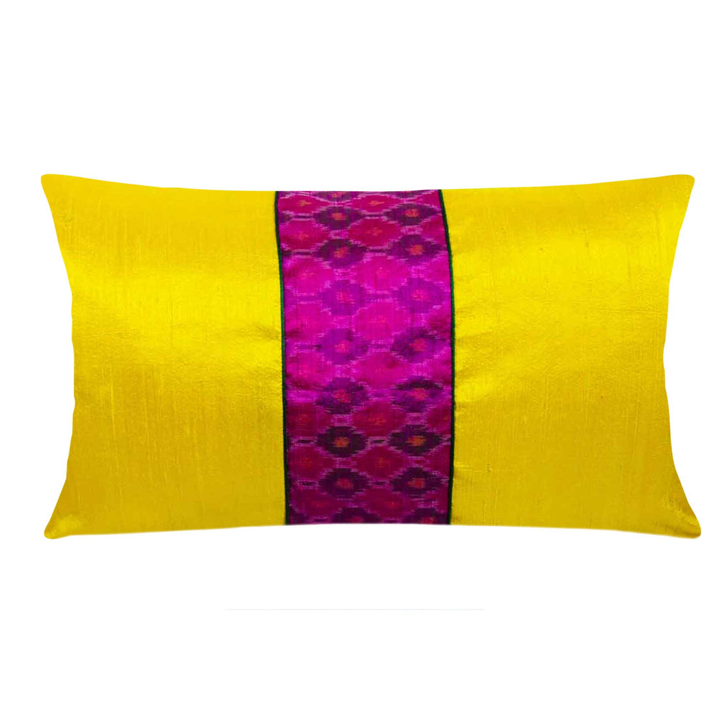 yellow and pink pochampalli lumbar pillow cover