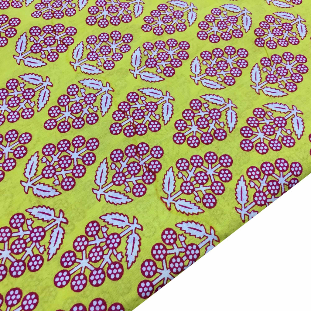 Yellow and Pink Jaipur Cotton Fabric