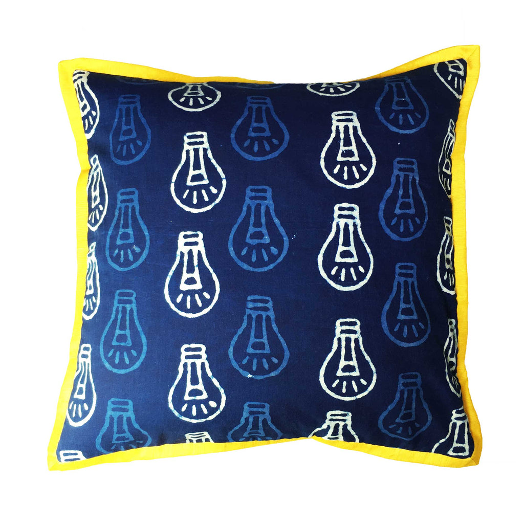 Piped Corners Bagru Indigo Cushion Cover