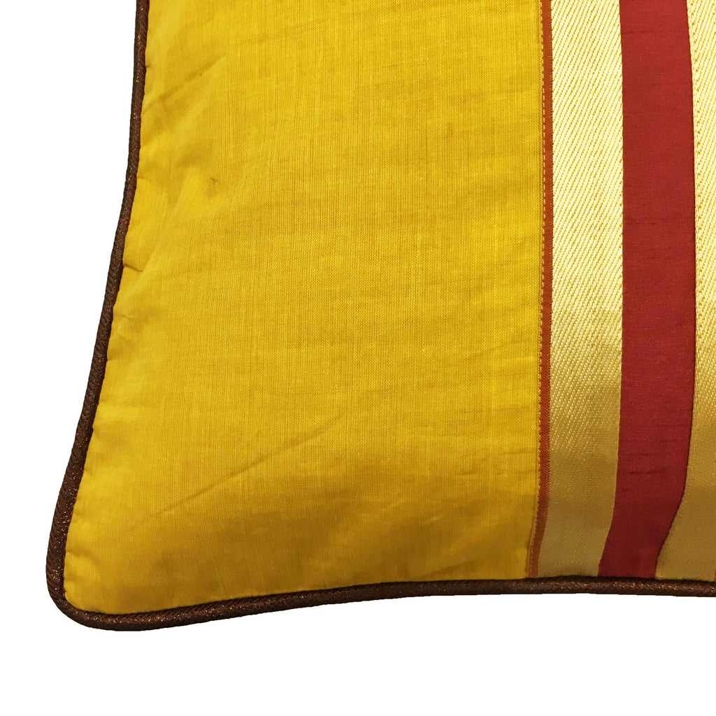 Yellow and Maroon Handloom Cotton Pillow Cover with piped edges