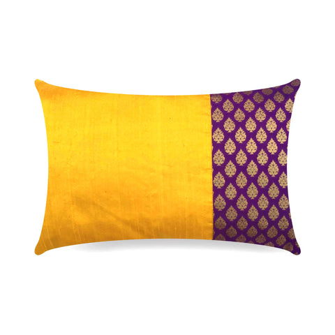 Yellow Purple and Gold Banrasi Silk Pillow Cover